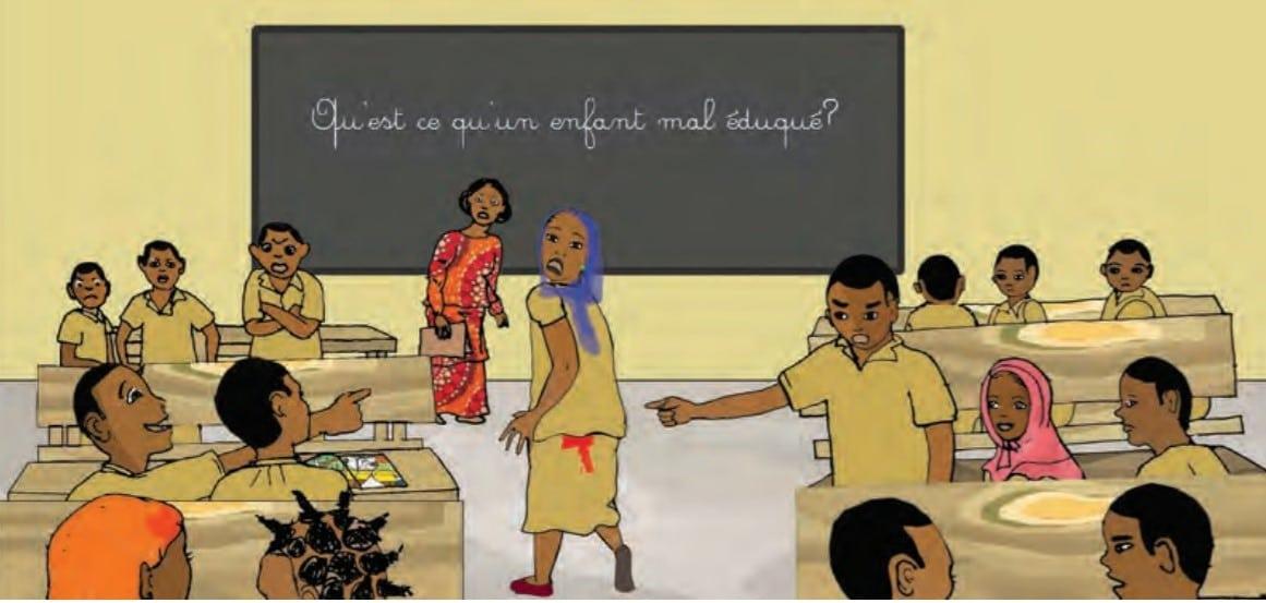 Illustration d'une scène courante de filles qui ont leurs règles pour la 1ère fois en classe